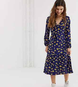 1dafaa789e9c Glamorous midi dress with neck tie in sunflower print