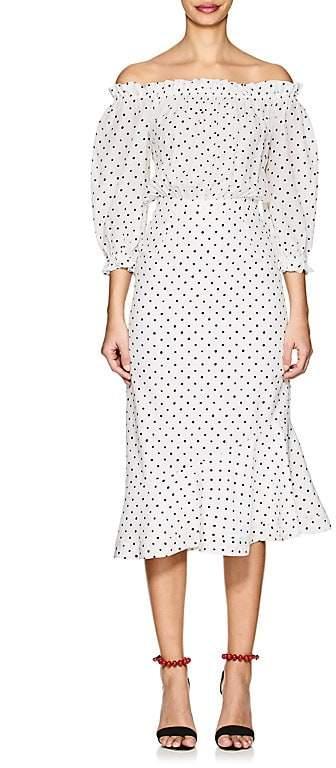 Women's Grace Polka Dot Silk Midi-Dress