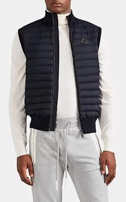 Moncler Men's Down-Quilted Cotton-Blend Zip-Front Vest - Navy