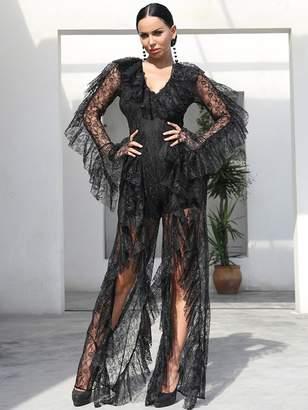 Shein Missord Ruffle Trim Split Lace Maxi Jumpsuit