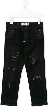 Philipp Plein Junior distressed straight-leg jeans