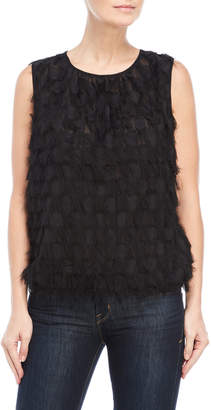 Max Studio Checked Fringed Tank