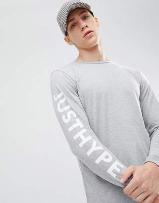 Hype long sleeve t-shirt with sleeve print in grey
