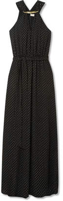 MICHAEL Michael Kors Starbright Glittered Crepe Maxi Dress - Black