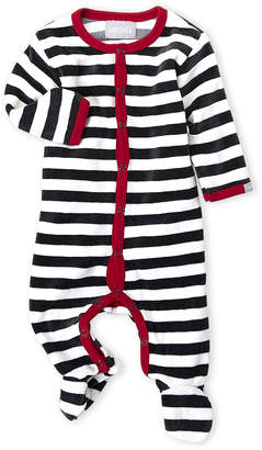 Coccoli Newborn Boys) Charcoal Stripe Velour Footie