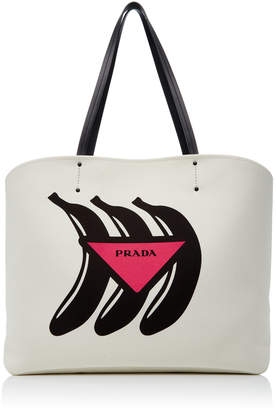 Prada Printed Canvas Tote