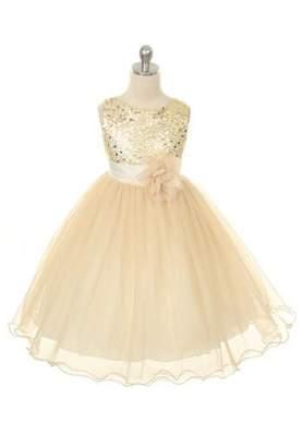 Kids Dream Grace- Sequined Mesh Dress Gold
