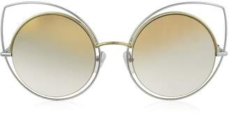 Marc Jacobs (マーク ジェイコブス) - Marc Jacobs Marc 10/s Twmfq Gold & Silver Metal Cat Eye Women's Sunglasses