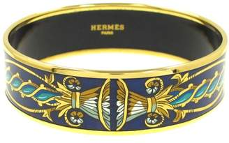 Hermes Gold-Tone Multi Color Design Bangle Bracelet
