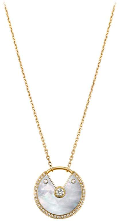 Medium Yellow Gold and Mother-of-Pearl Amulette de Necklace