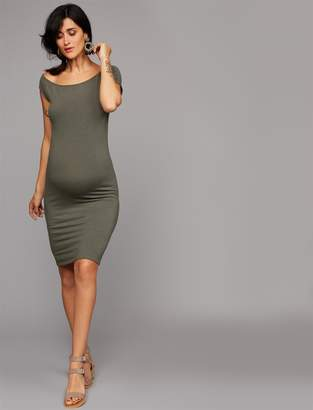 Monrow Pea Collection Pleated Maternity Dress
