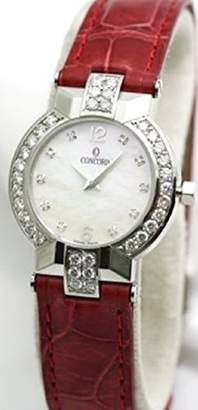 Concord La Scala Diamond Bezel Diamond Lugs Mother of Pearl Sapphire Crystal Leather Strap with Deploment Buckle Women's Watch