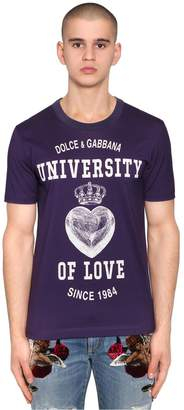 Dolce & Gabbana University Of Love Print Jersey T-Shirt