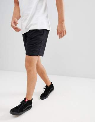Pull&Bear Check Shorts In Black With Drawstring