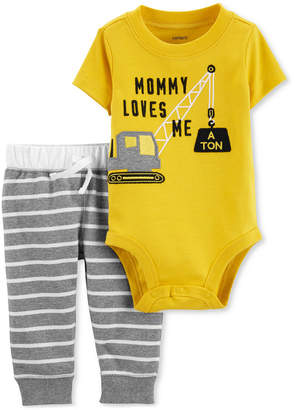 Carter's Baby Boys 2-Pc. Construction Graphic Bodysuit & Striped Pants Set