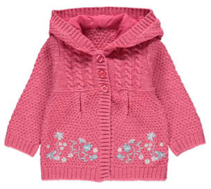 George Hooded Knitted Embroidered Hem Cardigan