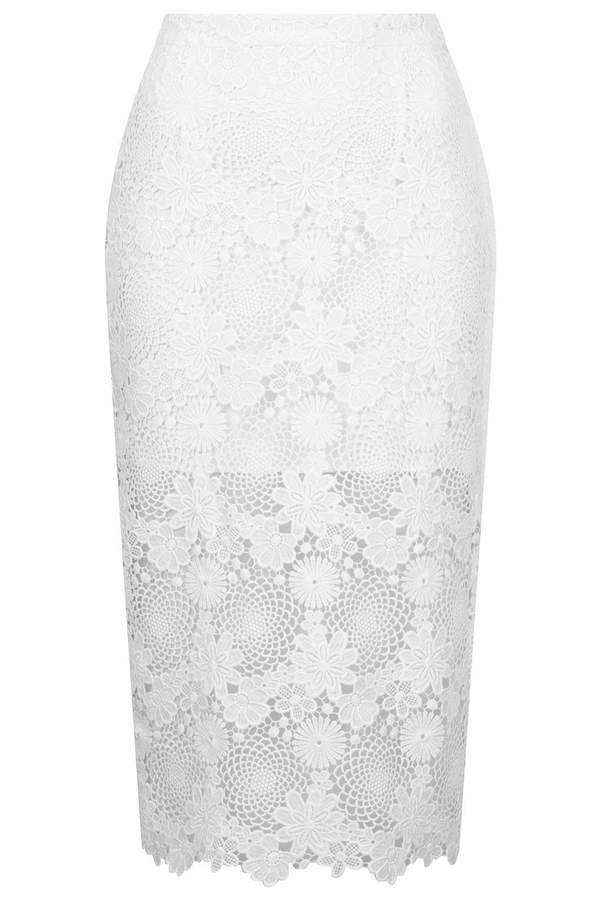 Topshop Cream lace pencil skirt with a mid-length lining and zip fastening at the back. 100% polyester. machine washable.
