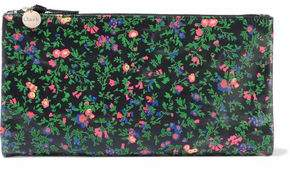 Clare Vivier Suede-trimmed Floral-print Leather Pouch