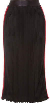 Ellery Dasha Striped Ribbed-knit Midi Skirt - Black