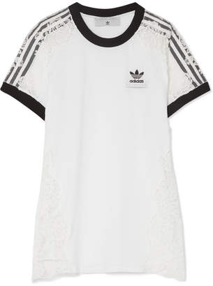 Stella McCartney Adidas Originals Lace-paneled Cotton-jersey T-shirt - White