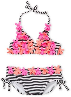 Flapdoodles Toddler Girls) Two-Piece Striped Floral Bikini Set
