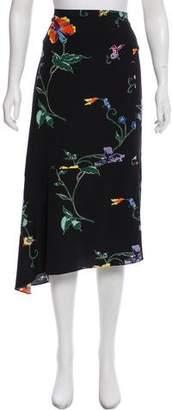 Tibi Floral Print Midi Skirt