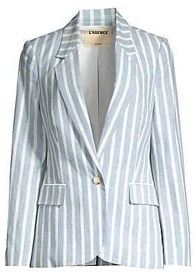 L'Agence Women's Scout Striped Linen-Blend Blazer