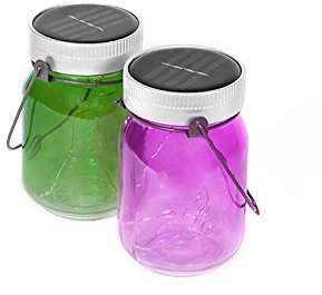 Thumbs Up UK Outdoor Solar Powered Fairy Light Jars, Purple/Green, Set of 2