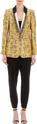 Stella McCartney Snakeskin-print Metallic Twill Tuxedo Jacket