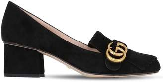 Gucci 55mm Marmont Fringed Suede Pumps