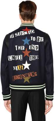 Valentino Jamie Reid Printed Wool Bomber Jacket