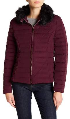 Hunter Fitted Faux Fur Trim Down Jacket
