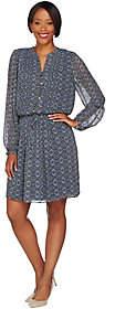 C. Wonder Printed Chiffon Long Sleeve Dressw/ Pleating