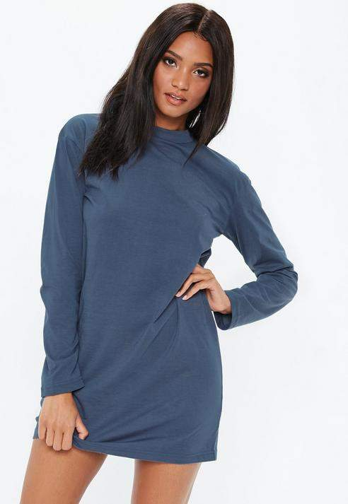 Blue Oversized Jersey Long Sleeve T-Shirt Dress, Blue