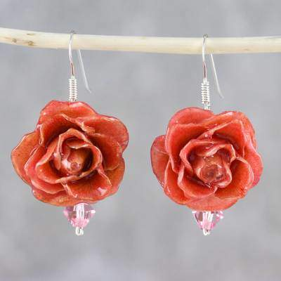 Captured Beauty in Pink Resin Dipped Pink Real Miniature Rose Dangle Earrings