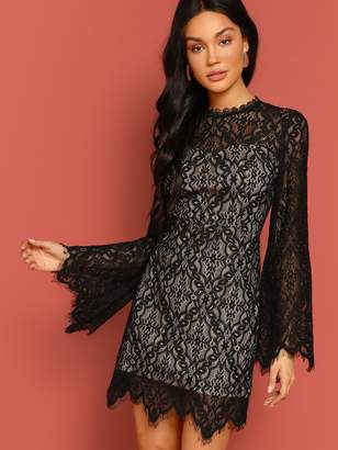 ce5f1dc03c48 Shein Bell Sleeve Floral Lace Overlay Dress