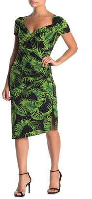 Norma Kamali Tropical Palm Print Ruched Sheath Dress