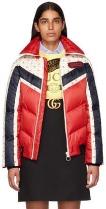 Gucci (グッチ) - Gucci レッド フローラル ストライプ ダウン ジャケット