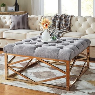 Weston Home Libby Button Tufted Cushion Ottoman Coffee Table with Champagne Gold Geometric Base, Multiple Colors