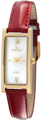 Peugeot Women's Gold Tone Red Leather Strap Watch