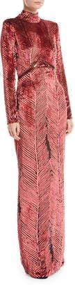 J. Mendel Turtleneck Long-Sleeve Chevron Velvet Burnout Evening Gown