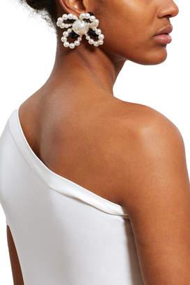 Alessandra Rich Pearl Flower Earrings