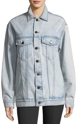 Alexander Wang Daze Button-Front Bleached Denim Jacket
