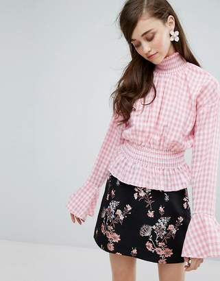 Sister Jane High Neck Blouse In Gingham