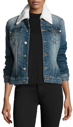 True Religion Western Dusty Denim Trucker Jacket, Dark Paperback $249 thestylecure.com