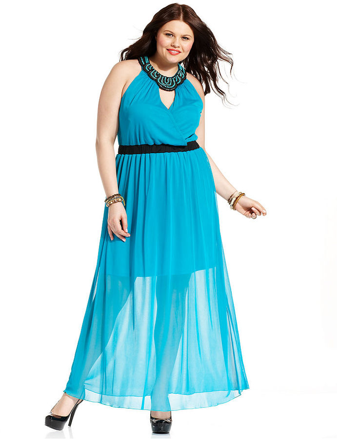 Ruby Rox Plus Size Dress, Halter Beaded Gown