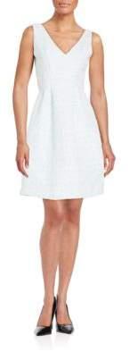 Betsey Johnson Jacquard V-Neck Fit & Flare Dress