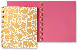 Kate Spade Golden Floral Spiral Notebook - Gold/Pink