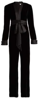 Diane von Furstenberg Sash Satin Trimmed Velvet Jumpsuit - Womens - Black