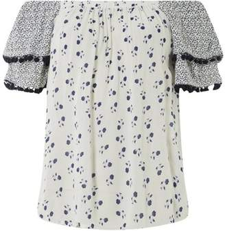Dorothy Perkins Womens White Floral Print Bardot Top